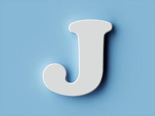White paper letter alphabet character J font