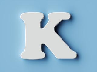 White paper letter alphabet character K font