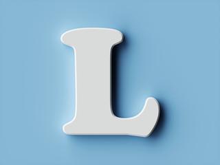 White paper letter alphabet character L font