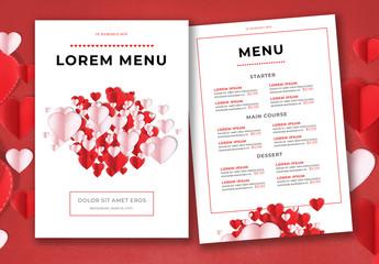 Valentine's Day  Restaurant Menu Layout
