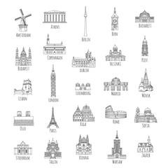 Set of 25 hand drawn landmarks from various European capitals, black ink illustrations