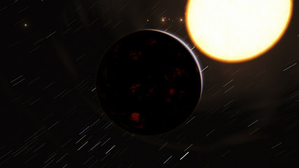 Exoplanet 3D illustration orbital view, purple planet from the orbit (Elements of this image furnished by NASA)