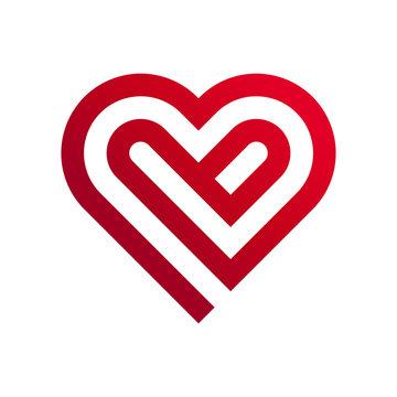 vector icon of read heart on white bgackground