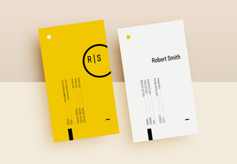 Yellow and White Business Card Layout with Abstract Elements