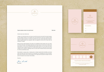 Pink and Brown Stationery Set