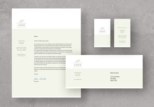 Light Green and White Stationery Set