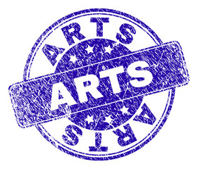 ARTS stamp seal watermark with distress style. Designed with rounded rectangle and circles. Blue vector rubber watermark of ARTS label with corroded style.