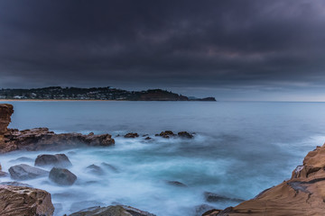 Overcast and Moody Sunrise Seascape