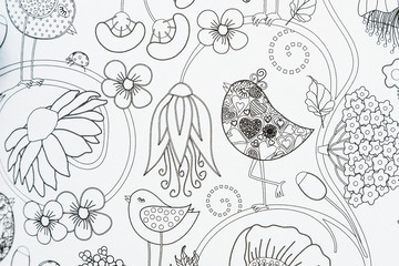 Arrière plan décoratif avec fleurs et oiseaux Wall mural
