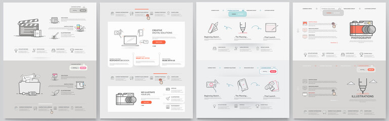 Business website template elements collection. Wall mural
