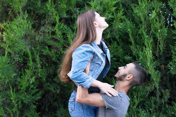 Beautiful girlfriend and boyfriend in park
