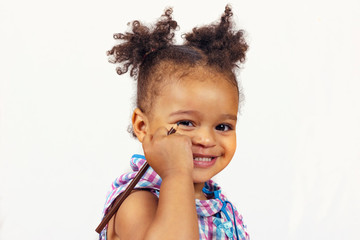 Adorable african american child with curly hair
