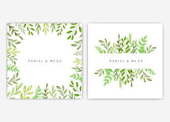 Frame of green leaves and branches for wedding invitation