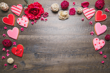 Heart shaped cookies on a rustic wood background for Saint Valentine's Day. Valentines Day background