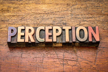 perception word in letterpress wood type
