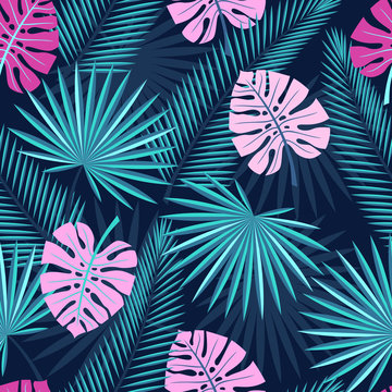 seamless tropical leaves  - palm, monstera. Seamless background with tropical leaves.