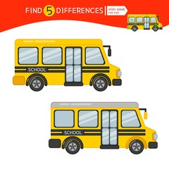 Find differences.  Educational game for children. Cartoon vector illustration of cartoon bus.