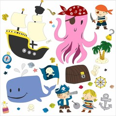 Pirate adventures Pirate party Kindergarten pirate party for children Adventure, treasure, pirates, octopus, whale, ship Kids drawing pattern for banners, leaflets, brochure, invitations
