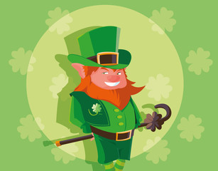 comic leprechaun with cane avatar character