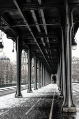 Snowfall over Pont de Bir-Hakeim, also known as viaduc de Passy - a bridge that cross the Seine River in Paris, France