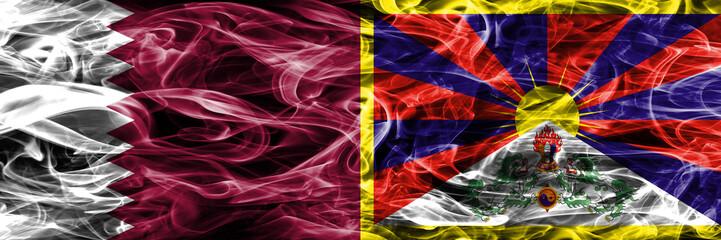 Qatar vs Tibet, Tibetan smoke flags placed side by side. United Arab Emirates. UAE.