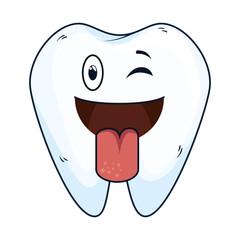 comic tooth happy kawaii character