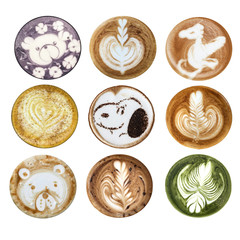 Collage of latte art pictures on white background isolated.  Coffee latte art cappuccino foam set bears, rose, heart, dog and flowers