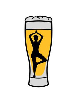 bier glas alkohol party saufen trinken durst feiern spaß oktoberfest yoga übung meditation haltung training fitness silhouette frau weiblich konzentration gesund entspannung clipart design