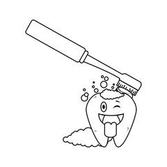 comic tooth with brush kawaii character