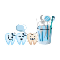 comic teeth with dentist equipment characters