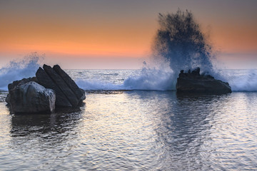 Sunrise Seascape and Rock Ledge Splash