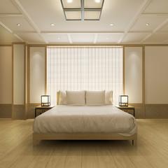 3d rendering beautiful luxury asian bedroom suite in hotel with tv