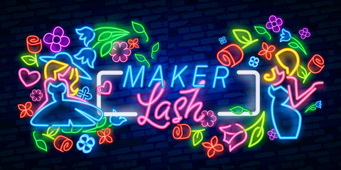 Lash maker lettering logo design. Lash maker neon sign vector. Calligraphy phrase for lash makers logo, cards, prints, beauty blogs. template neon sign, light banner, neon signboard, nightly bright