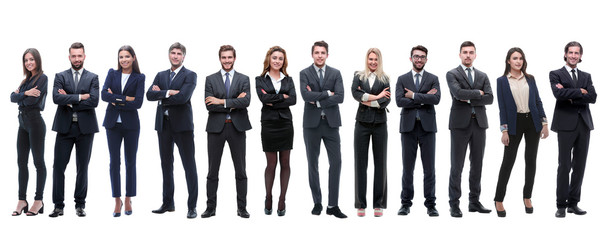 group of successful employees standing in a row