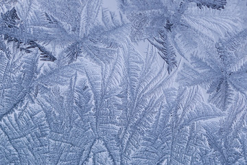 Macro images of frost pattern on window