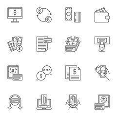 Credit Card and Payments concept outline icons set. Vector Money and Bank Card symbols in thin line style
