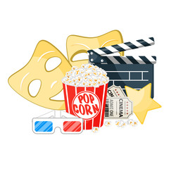 Movie time illustration. Cinema poster concept on red round background. Composition with popcorn, clapperboard, 3d glasses and filmstrip. Cinema banner design for movie theater.