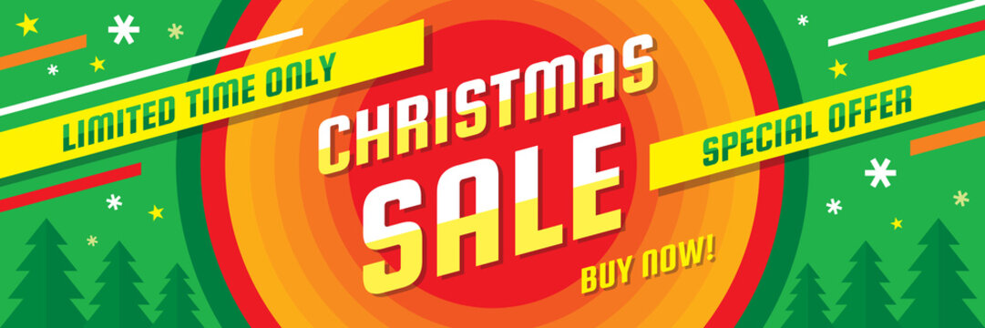 Christmas winter sale - concept horizontal banner vector illustration. Abstract discount advertising creative layout. Graphic design poster.