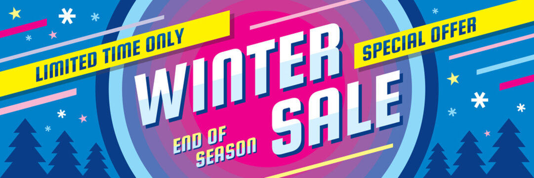 Winter sale - concept horizontal banner vector illustration. Abstract creative discount layout. Special offer. Graphic design poster.