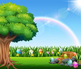 Door stickers Rainbow Happy easter nature background with rainbow