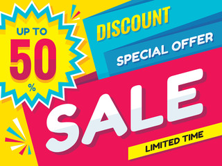 Sale - vector creative banner illustration. Abstract concept discount up to 50% promotion layout. Graphic design poster.