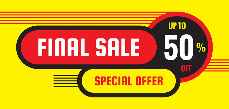 Final sale discount up to 50% off - concept horizontal banner vector illustration. Special offer abstract layout. Graphic design poster.