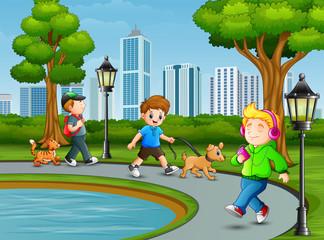 Children activity in the city park