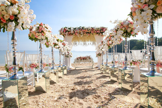 Wedding set up on beach. Tropical outdoor wedding party on beach