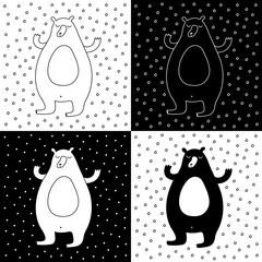 Cute cartoon hand drawn bear illustration set. Sweet vector black and white bear illustration set. Isolated monochrome doodle bear illustration set.