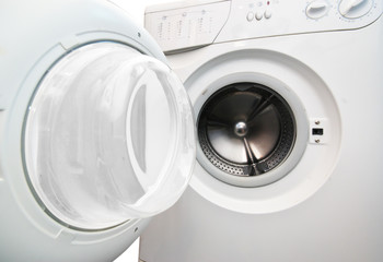 Washing machine on white background.