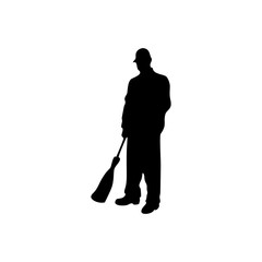 janitor male vector silhouette on white background