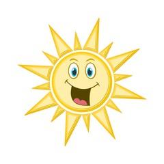 Cute sun icon or logo, Smiling Sun, Happy sun
