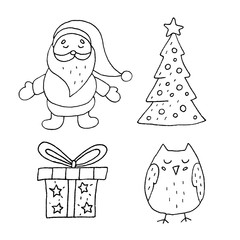 Cute cartoon hand drawn merry christmas illustration set. Sweet vector black and white merry christmas illustration set. Isolated monochrome merry christmas illustration set.