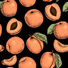 Apricots. Vector seamless pattern. Vintage style